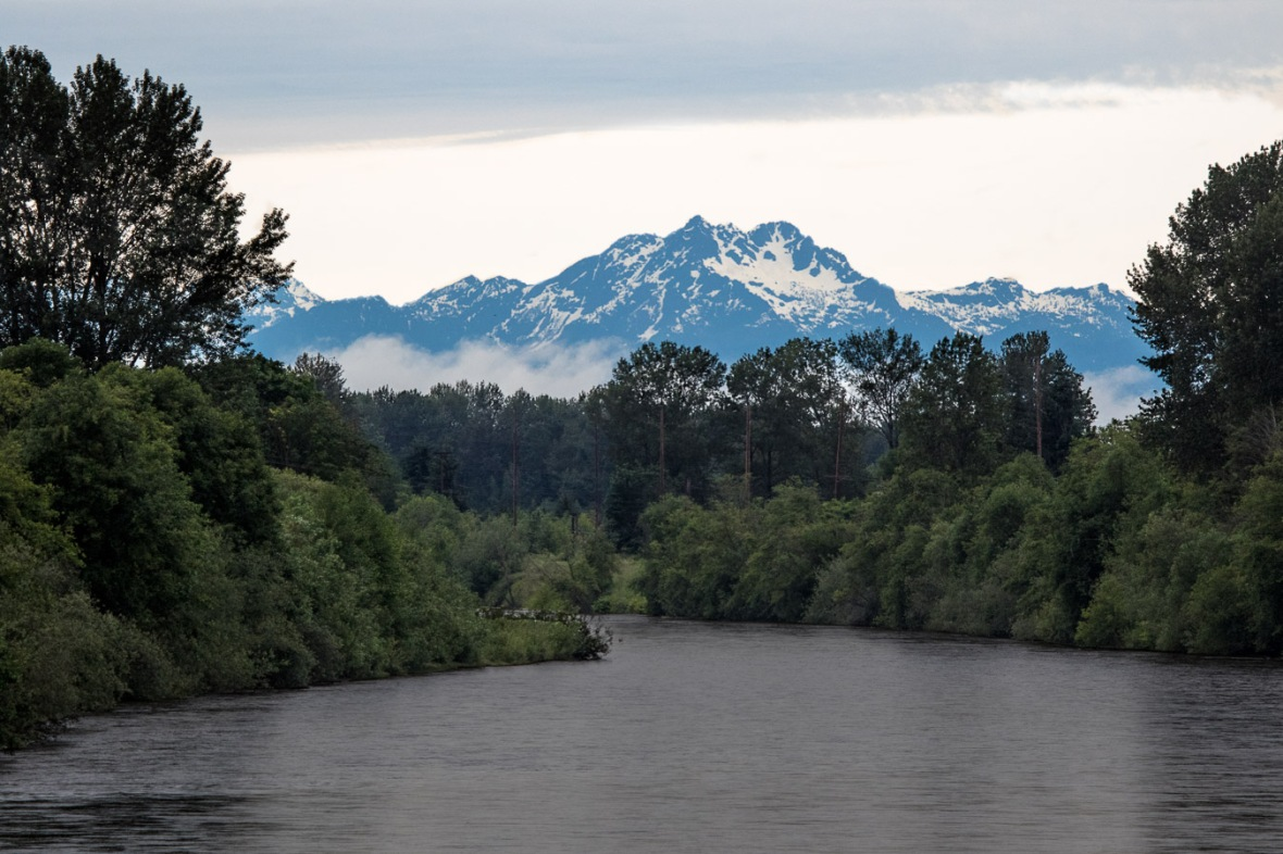 Olympics from Puyallup River Bridge