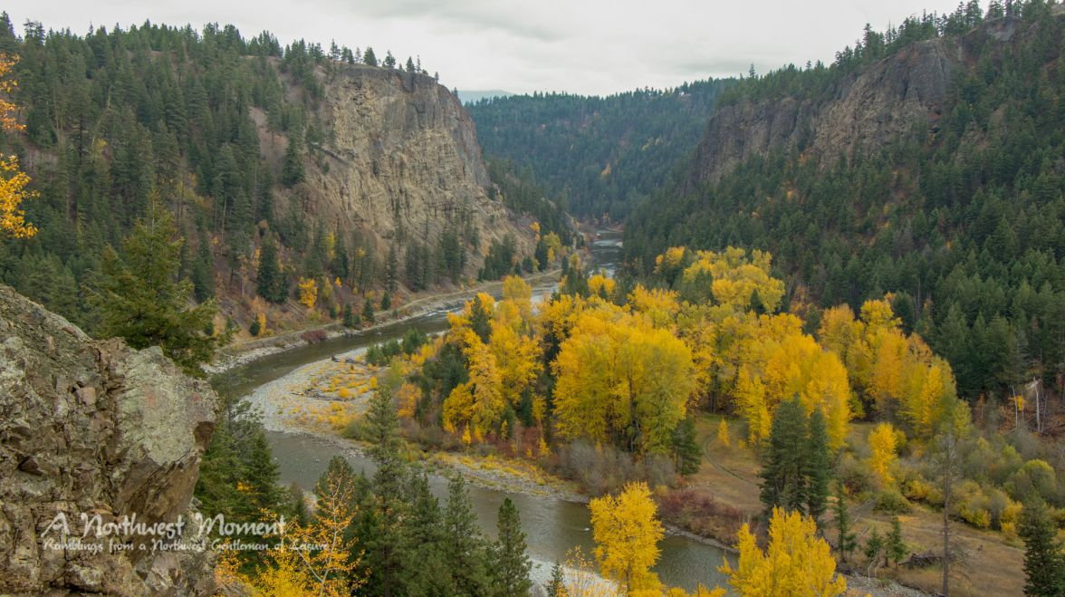 At the bottom of Tulameen Canyon, flows the Tulameen River. The abandoned Kettle Valley Railroad follows the river on one bank, while golden cottonwood and aspen trees line the other side. The old railbed is now a part of the Trans Canada Trail System.
